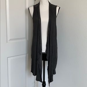 Cable and Gauge Heather Grey Sleeveless Duster